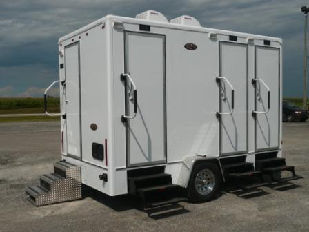 Portable restroom trailers a j portable toilets for Portable bathroom trailers